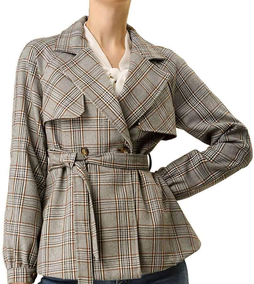 Allegra K Plaid Work Jacket