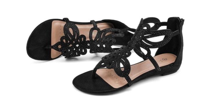DREAM PAIRS Women's Jewel Rhinestones Design Ankle-High Flat Sandals