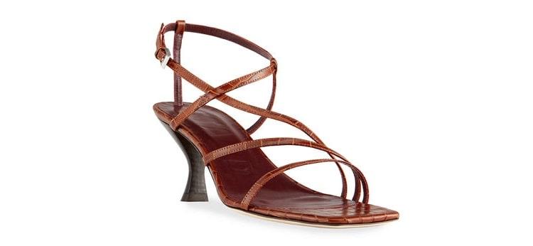 Gita Strappy Croc-Embossed Kitten-Heel Sandals