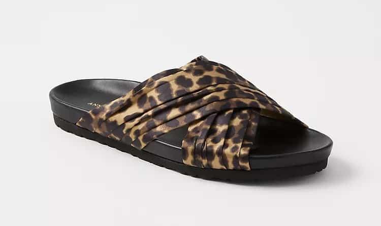 Riley Leopard Print Flat Slide Sandals