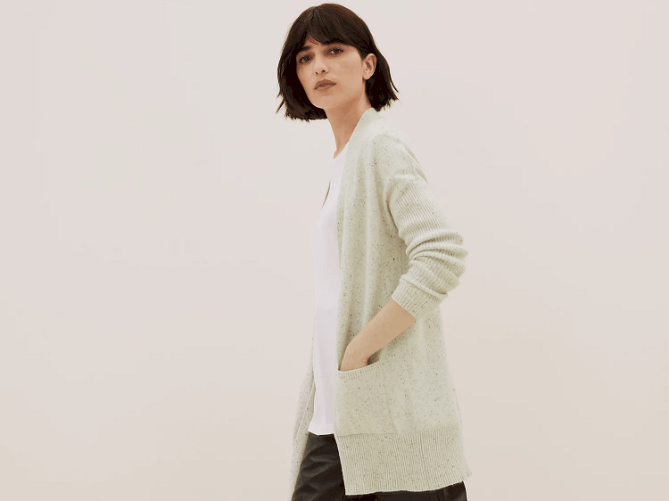 Mark and Spencer Autograph Pure Cashmere Textured Longline Cardigan