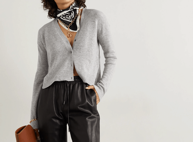 THEORY Light Gray Cropped Cashmere Cardigan