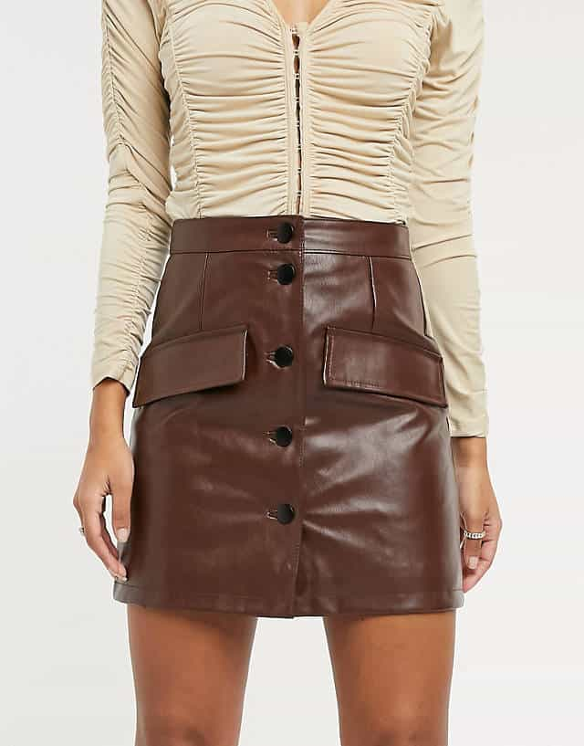 ASOS DESIGN leather look button through mini skirt in brown   ASOS